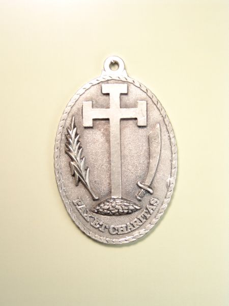 """HERLDICAS religious medals RELIEVE """"SANTA CRUZ WITH AMERICA Potent SABLE PALM LEAF AND ARCHED left and right ON MOUNT CALVARY 70 MM"""""""