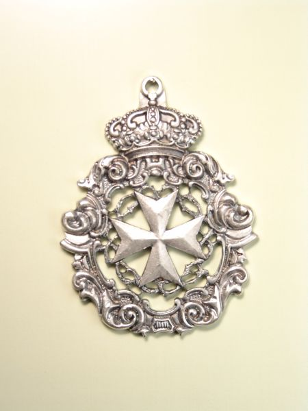 """HERLDICAS religious medals RELIEVE """"MALTESE CROSS WITH CROWN OF THORNS AND BAROQUE ORLA 70 MM"""""""