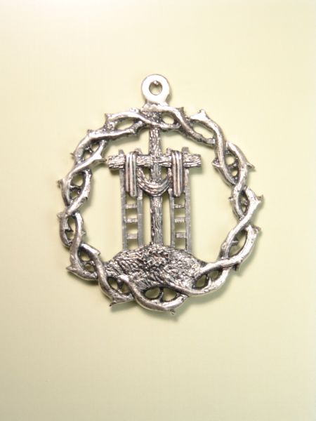 """HERLDICAS religious medals RELIEVE """"Crown of Thorns with CROSS AND SCALES AND SHROUD WITH 60MM MOUNT CALVARY"""""""
