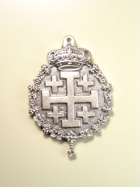 """HERLDICAS religious medals RELIEVE """"JERUSALEM CROSS WITH REAL SOLID TOISON 65 MM"""""""