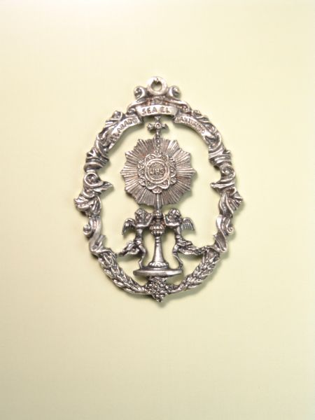 """HERLDICAS religious medals RELIEVE """"Praised be the Blessed 65 MM"""""""