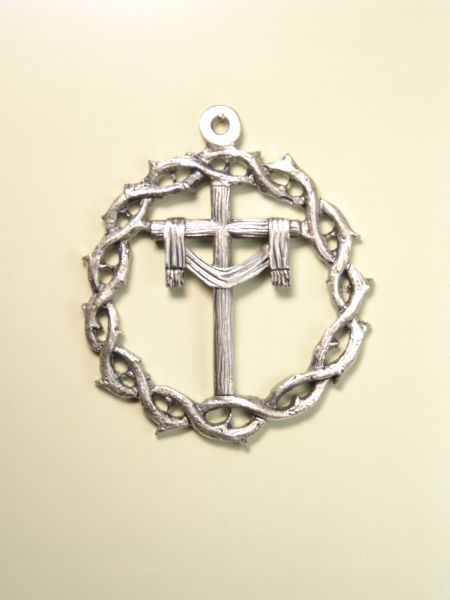 """HERLDICAS religious medals RELIEVE """"SANTA CRUZ WITH SHROUD AND CROWN OF THORNS 60 MM"""""""