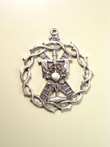 """HERLDICAS religious medals RELIEVE """"AVE MARIA AND HEART OF 7 ON CROSS WITH SHROUD PUALES SCALES AND CROWN OF THORNS ORLA 60 MM"""""""
