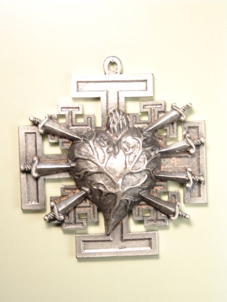 """HERLDICAS religious medals RELIEVE """"heart PAIN WITH 7 PUALES CROSS ON 75 MM Jerusalem"""""""