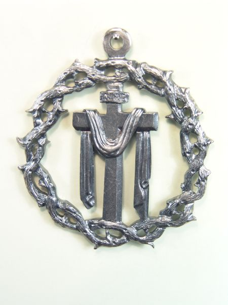 "HERLDICAS religious medals RELIEVE ""SANTA CRUZ WITH SHROUD bordered by CROWN OF THORNS 60 MM"""