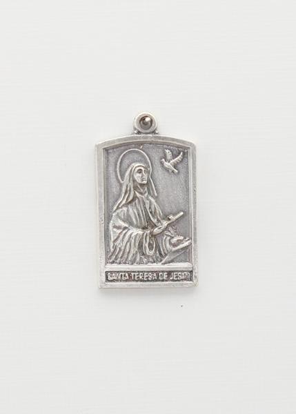 MEDALLITA SANTORAL RELIEVE PORTICO BAÑO PLATA DE LEY  SANTA TERESA DE JESUS