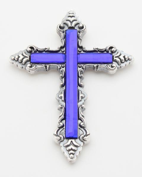 METAL PECTORAL CROSS, MODEL ELITE BLUE GLASS SILVER PLATED