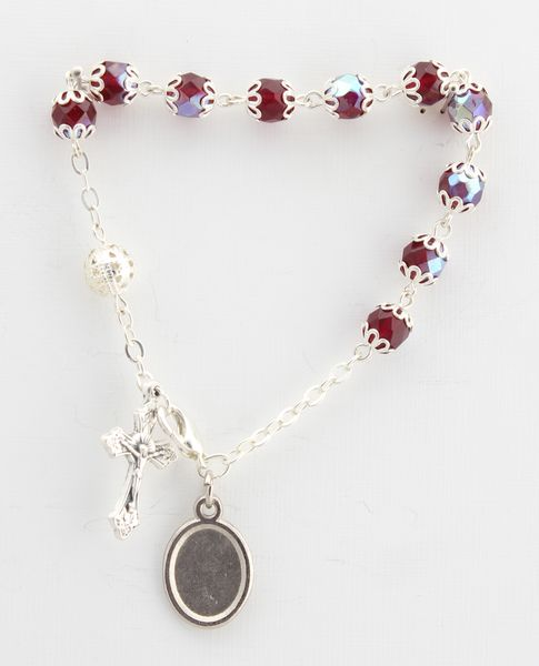 BRACELET GLASS AND METAL FILIGREE two tufts, deep red