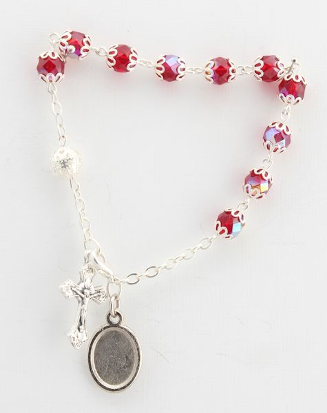 BRACELET METAL AND GLASS two tufts filigree RED