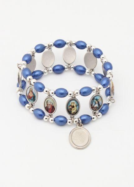 ELASTIC BRACELET BLUE GLASS saints