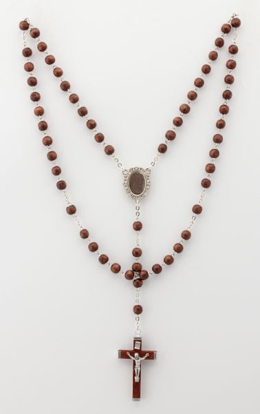 LISA WOOD ROSARY ROUND 5 7.5 MYSTERIES WALNUT