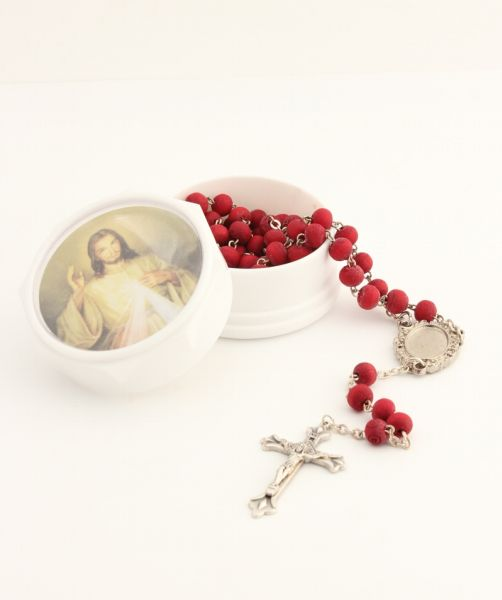 SCENT SCENTED ROSARY ROSE 5 MYSTERIES WITH BOX AND PHOTO