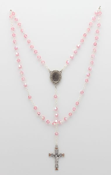 ROSARIO 5 MYSTERIES 6MM Swarovski Crystal PINK CONE